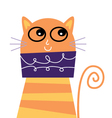 Cute beautiful adorable cat isolated on white vector image