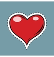 Red heart Valentine pop art retro label sticker vector image