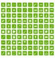 100 creative idea icons set grunge green vector image vector image