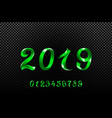 2019 green new year sign with glitter and loading vector image vector image