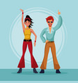 80s couple dancing cartoon vector image vector image