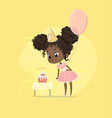 african american kid girl blow birthday cake vector image vector image