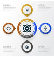 audio icons set collection of timbrel barrel vector image vector image