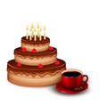 Background with birthday chocolate cake and a cup vector image