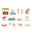 beach holidays icon set vector image vector image
