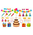 birthday party items vector image