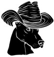 black silhouette head dobermann dog with hat vector image vector image
