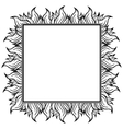 Black white squared frame with spurts of flame vector image