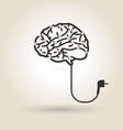 brain symbol with power cord vector image