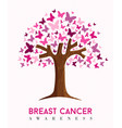breast cancer awareness pink butterfly tree art vector image vector image