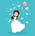 bride throwing flowers wedding ceremony vector image vector image