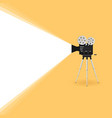 camera old movie on yellow background vector image vector image