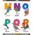 cartoon alphabet set with birds animal characters vector image