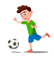 child playing soccer on the field isolated vector image vector image