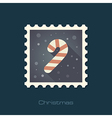 Christmas Candy Cane flat stamp vector image vector image