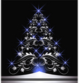 Christmas silver fur tree vector image