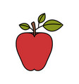 colorful silhouette image red apple fruit vector image vector image