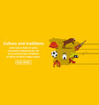 culture and traditions spain banner horizontal vector image vector image