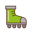 cute brightly green roller skates vector image vector image