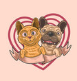 cute love kitten and puppy vector image vector image