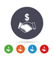 dollar handshake sign icon successful business vector image vector image