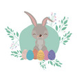 easter background with rabbit and easter eggs in vector image vector image