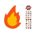 fire icon with love bonus vector image vector image