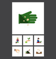 flat icon seed set of seed care man and other vector image vector image