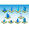 futuristic buildings set smart city 3d objects vector image