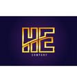 gold golden alphabet letter he h e logo vector image