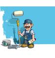 Handyman Wall Painter Blue Uniform vector image vector image