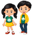 happy boy and girl wearing shirt with flag of vector image vector image