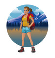 hiking girl design vector image vector image