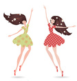 isolated young women with long hair vector image