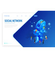 isometric social media or social network concept vector image vector image