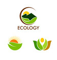 nature ecology logos vector image vector image
