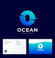 ocean restaurant o monogram with waves vector image