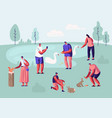 people spending time in animal park vector image vector image