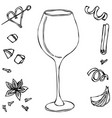 red vine glass hand drawn vector image vector image