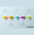 row of 5 colorful round elements with thin line vector image vector image
