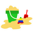 sand bucket shovel and toys summer play game vector image