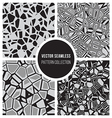 Seamless BW Mosaic Pattern Collection vector image vector image
