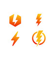 set bolt icon electric bolt icon design vector image