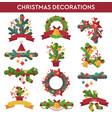 set of christmas decoration design elements vector image