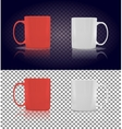 Set of Cup or Mug White and Red vector image
