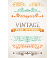 Set of vintage page dividers for your design vector image vector image