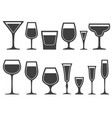 set of wineglass and glass different shapes icons vector image vector image