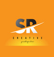 sr s r letter modern logo design with yellow vector image vector image