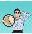 Stressed Pop Art Business Man with Big Clock vector image vector image