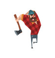 strong woodcutter swinging an ax bearded vector image vector image
